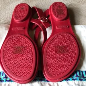 Tory Burch Shoes - Red Tory Burch Leather Minnie Travel Sandals